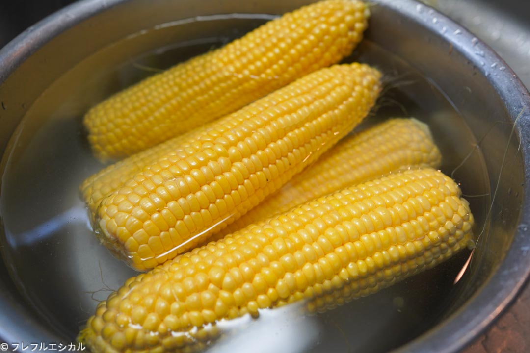 Corn boiled microwave oven